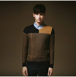 Men's Multi Color Knitted Slim Fit Sweater