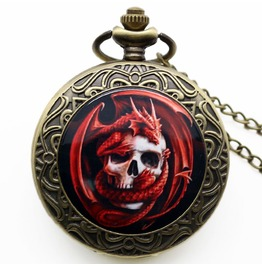 Quartz Red Skull Bronze Pocket Watch