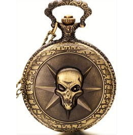 Vintage Gothic Pocket Watch With Skull In Front