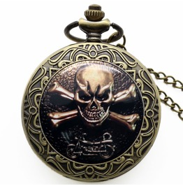 Antique Skull Bronze Pop Open Quartz Pocket Watch With Chain