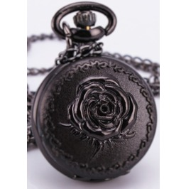 Steampunk Black Rose Pop Open Pocket Watch