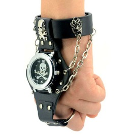 Pirate Skull Black Pu Leather Quartz Wrist Watch With Ring