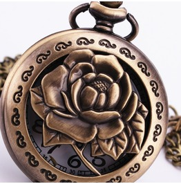 Steampunk Big Rose Flower Pop Open Pocket Watch