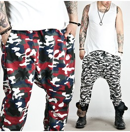 Low Crotch Camouflage Baggy Sweatpants 166