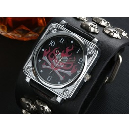 Flaming Bones Skull Black Leather Wrist Watch