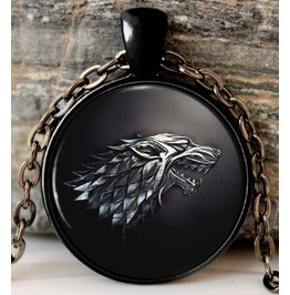 Stark Black Wolf Necklace Chain With Brooch