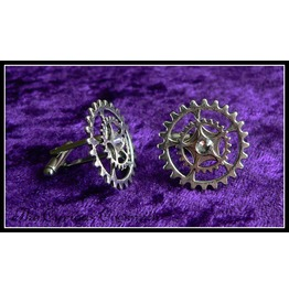 Clear Rhinestone, Steampunk Cufflinks