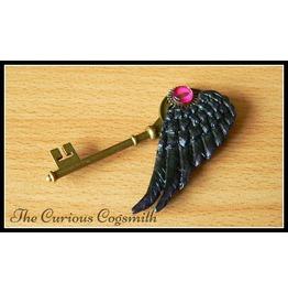 Winged Key Pendant Necklace