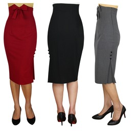 High Waisted Pencil Skirt 50s Black Grey Or Red Reg & Plus Sizes $9 To Ship