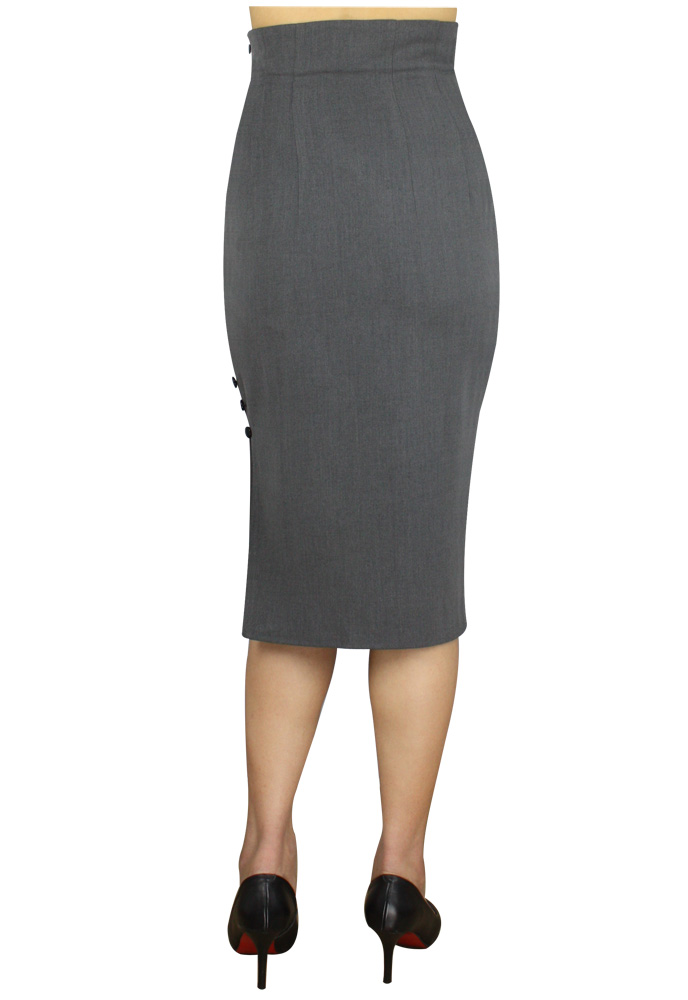 high waisted pencil skirt 50s black grey or reg plus