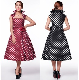 Red Polkadot Dress 50s Swing Rockabilly Black Dress Reg&Plus Size Free Ship