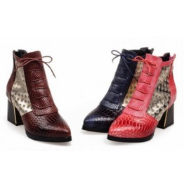 Women's Black/Pink/Brown High Heels Ankle Boots