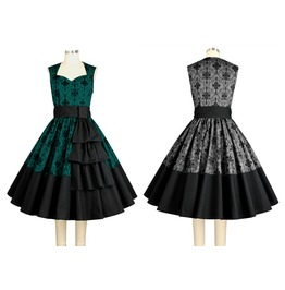 50s Swing Dress Green Or Gray Rockabilly Reg & Plus Sizes $9 To Ship