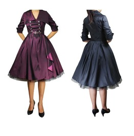 50s Swing Dress Rockabilly Dress Purple Or Black Reg&Plus Size Free To Ship