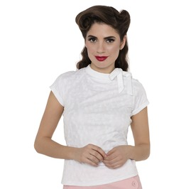 Voodoo Vixen Ashlea Tea Party Blouse White And Pink