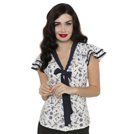Voodoo Vixen White Jaimie Nautical Print And Tie Blouse