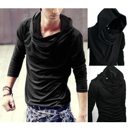 New Black Cowl Tunnel Neck Hoodie Cloak Long Sleeve Shirt Men S M L Xl Xxl