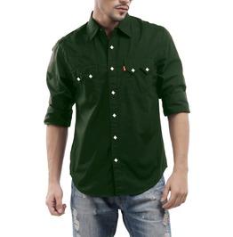 Nwt Men Green Western Cowboy White Square Snap Long Sleeve Shirt Size M L