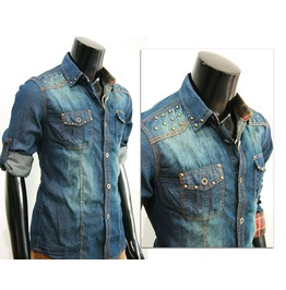 New Men Jeans Blue Denim Stud Long Sleeve Shirt Casual Size L