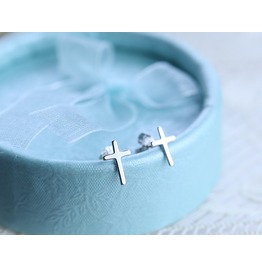 Tiny Cross Sterling Silver Stud Earrings