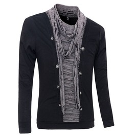 Mens Long Sleeve Pullover With Edge Styled Front