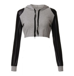 Long Sleeve Crop Top Pu Leather Patchwork Casual Short Jogging Hoodie