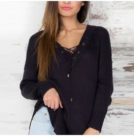 V Neck Long Sleeve Lace Up Side Split Casual Sweater Simple Pullover