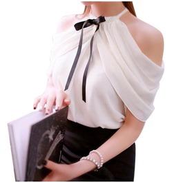 Off Shoulder Blouse Women Casual Slim Chiffon Tops Blusas
