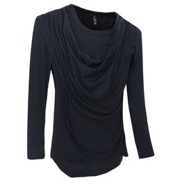 Mens Long Sleeve O Neck Sweater With Ripple Front