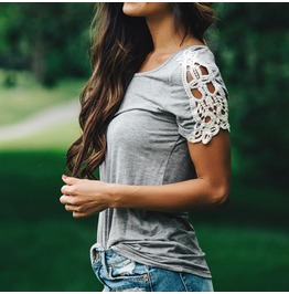 Neck Lace Patchwork Short Sleeve Loose Shirts Casual Simple Tops Plus Size