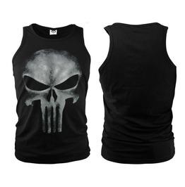 The Punisher Skull Printed Men's Black Cotton Tank Top