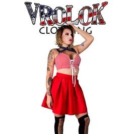 Polka Dot And Stripes Skater Dress, Corset Crop Top, Red Skater Skirt