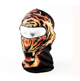 Printed Unisex Black Fire Lion Full Face Mask