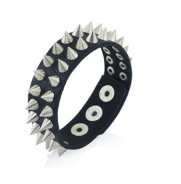 Gothic Black Leather Spike Bracelet