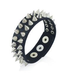 Gothic Black Leather Spike Bracelet
