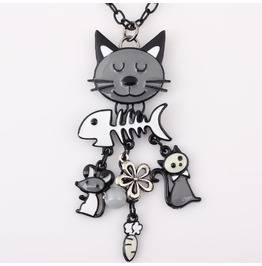Cat And Fish Bone Charm Style Necklace
