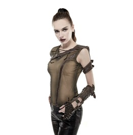 Steampunk Punk Rock Cosplay Khaki Rogue Shirt Top Tank With Shoulder Armor