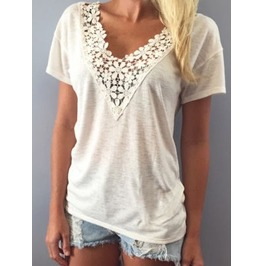 Women's Summer Lace V Neck Short Sleeve Blouse