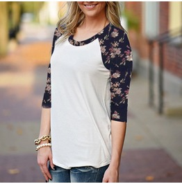 T Shirt Casual O Neck Vintage Floral Printed T Shirt
