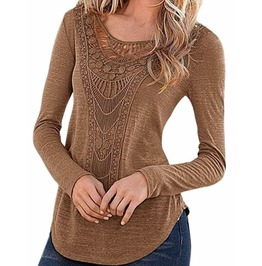 Women's Long Sleeve Hollow Out Blouse