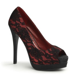 Pin Up Couture Bella Red Satin Lace Peep Toe Heels