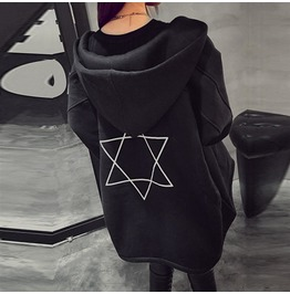Loose Hoodies Long Sleeve Pattern Print Black Sweatshirts Zipper Outwear