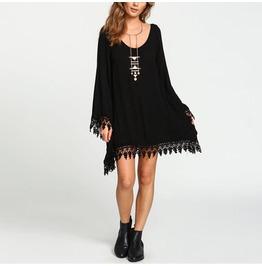 Lace Crochet Tassels Vestidos Casual Loose Solid Mini Dress Bikini Cover Up