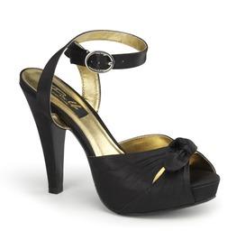 Pin Up Couture Bettie Black Satin Mary Jane Peep Toe Heels