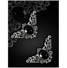 Restyle Gothic Victorian Hairclips With Baroque Ornaments Black Gem