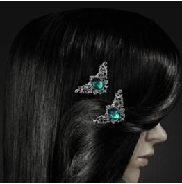 Restyle Gothic Victorian Hairclips With Baroque Ornaments Green Mint Gem
