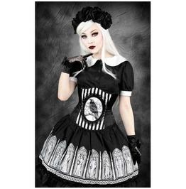 Restyle Crow Raven Underbust Corset Size 22 Black White Stripes Victorian