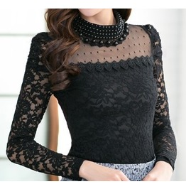 Women's Beading Lace Neck Lace Sleeves Blouse