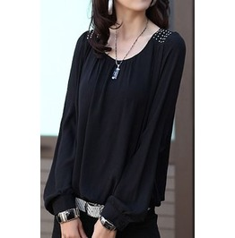 Women's Vintage Chiffon Long Sleeve Blouse