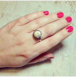 Locket Ring Silver Mini Locket Poison Ring Floral Design Adjustable